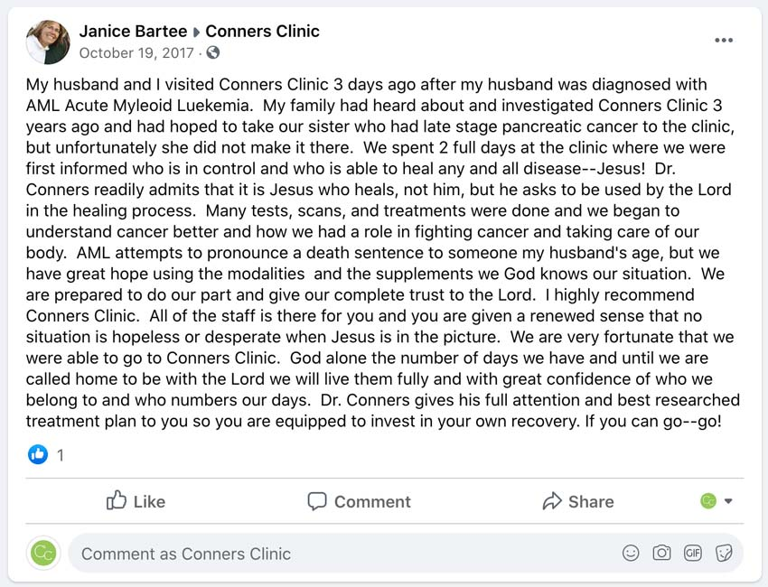 Conners Clinic Testimonials Review Patient Alternative Cancer Treatment